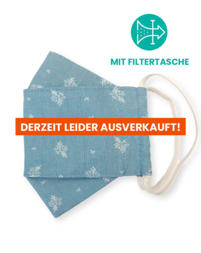 """Stoffmaske """"ORIGAMI"""" mit Filtertasche – Trachtenstoff hellblau"""