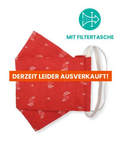 """Stoffmaske """"ORIGAMI"""" mit Filtertasche – Trachtenstoff rot"""