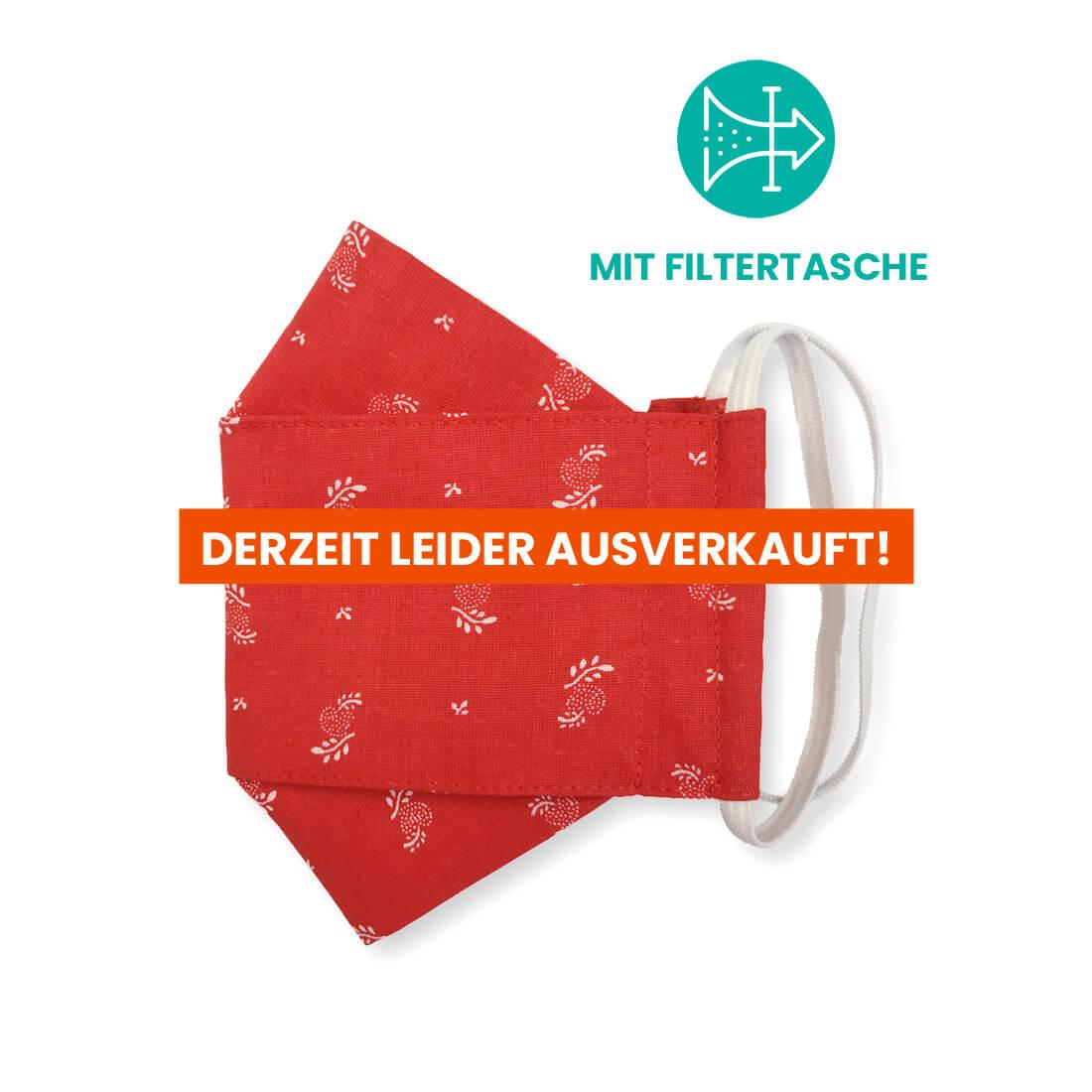 """Stoffmaske """"ORIGAMI"""" mit Filtertasche - Trachtenstoff rot"""