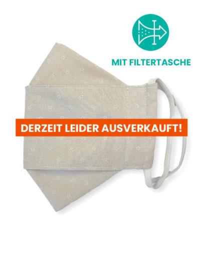 """Stoffmaske """"ORIGAMI"""" mit Filtertasche – Trachtenstoff creme"""