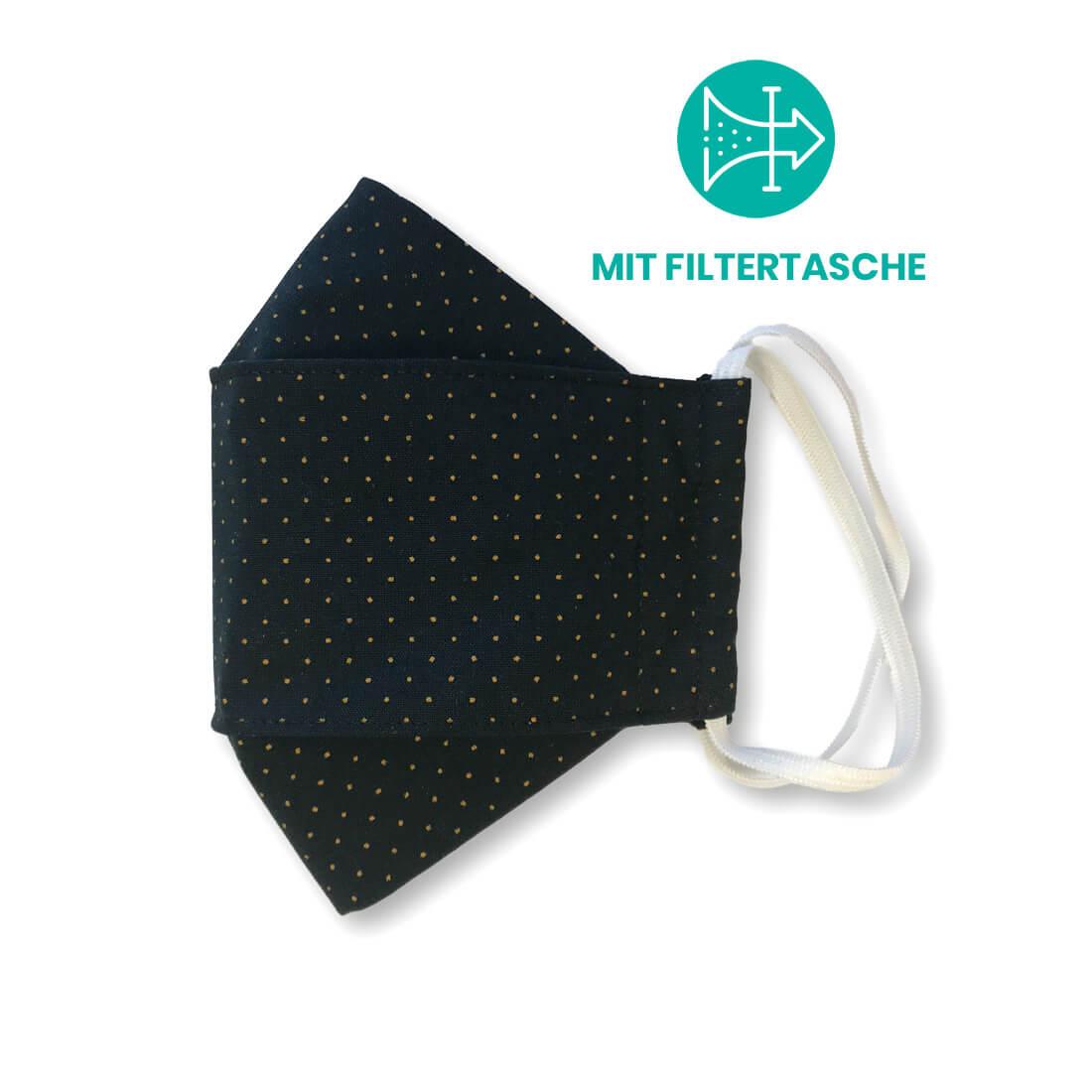 """Stoffmaske """"ORIGAMI"""" mit Filtertasche - Schwarz gelbe Punkte"""