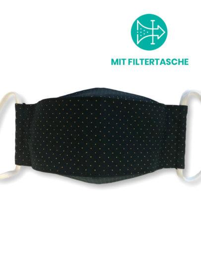 """Stoffmaske """"ORIGAMI"""" mit Filtertasche – Schwarz gelbe Punkte"""
