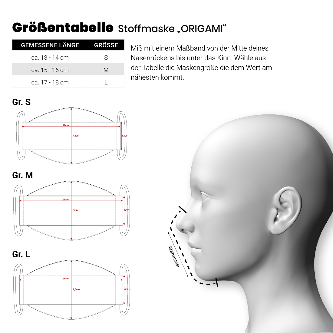 """Größentabelle Stoffmaske """"Origami"""""""