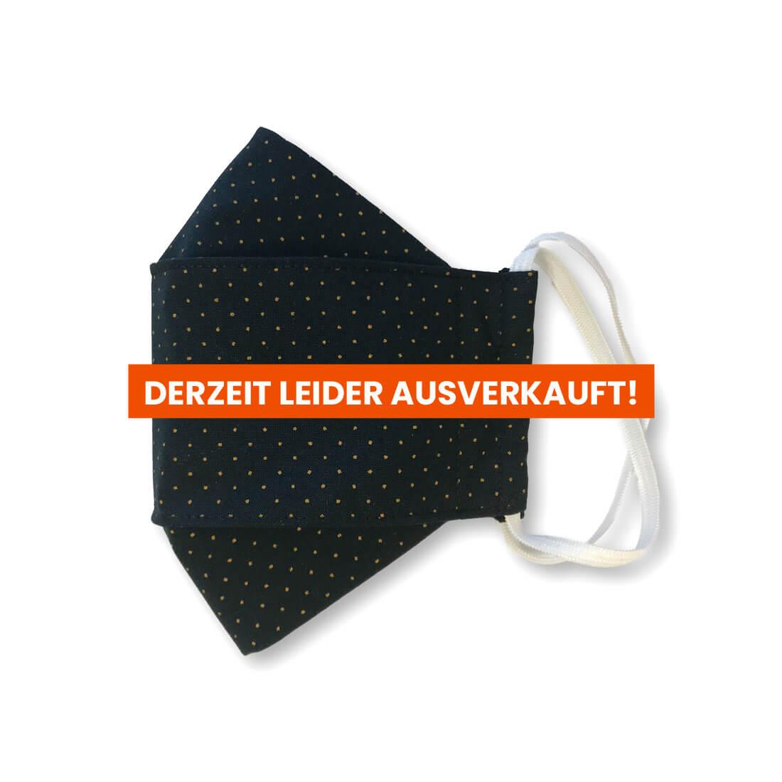 """Stoffmaske """"ORIGAMI"""" - Schwarz gelbe Punkte"""
