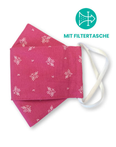 """Stoffmaske """"ORIGAMI"""" mit Filtertasche - Trachtenstoff pink"""