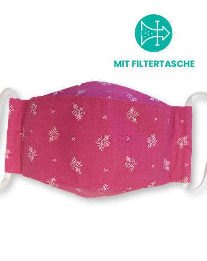 """Stoffmaske """"ORIGAMI"""" mit Filtertasche – Trachtenstoff pink"""