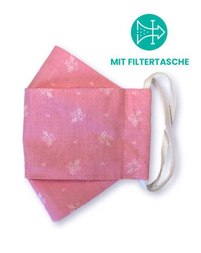 """Stoffmaske """"ORIGAMI"""" mit Filtertasche – Trachtenstoff rosa"""