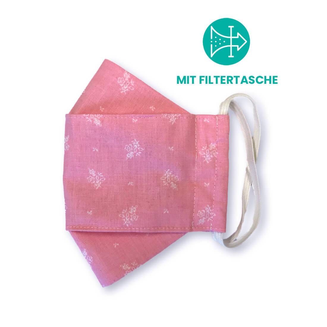 """Stoffmaske """"ORIGAMI"""" mit Filtertasche - Trachtenstoff rosa"""